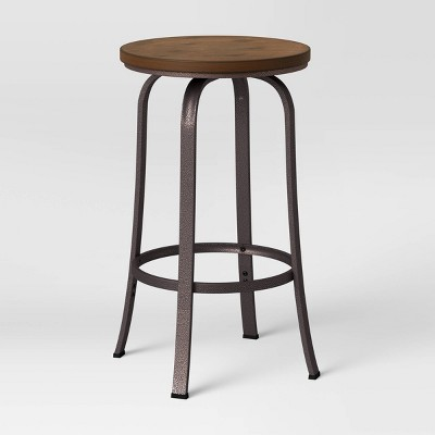 Dakota Backless Swivel Wood Seat Barstool with Adjustable Legs Metal - Threshold™