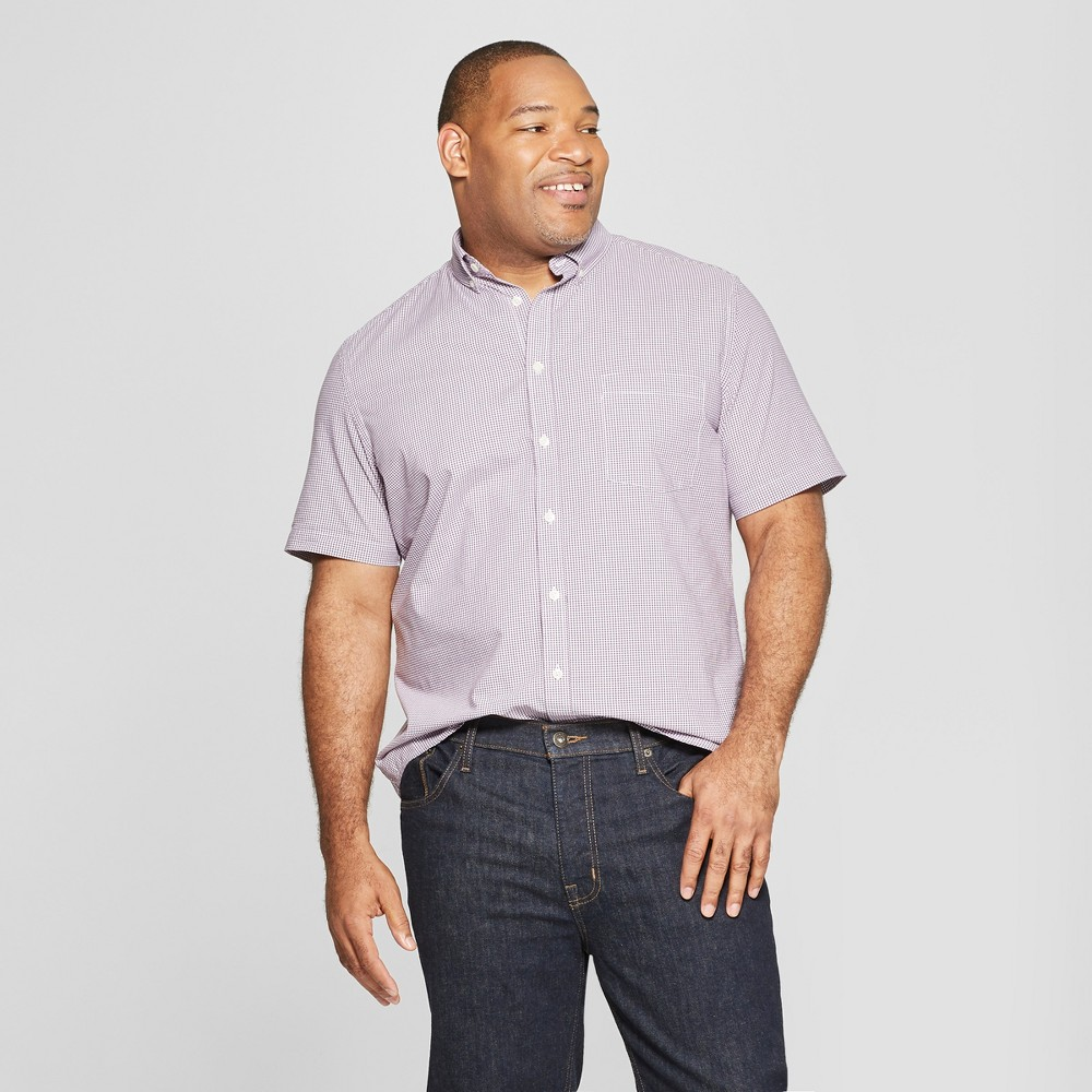 Men's Big & Tall Standard Fit Plaid Short Sleeve Poplin Button-Down Shirt - Goodfellow & Co Pretend Purple 5XB