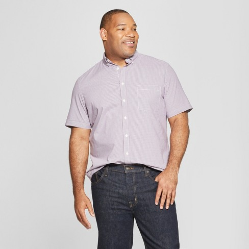 Men's Big & Tall Plaid Standard Fit Short Sleeve Poplin Button-Down Shirt - Goodfellow & Co™ Pretend Purple - image 1 of 3