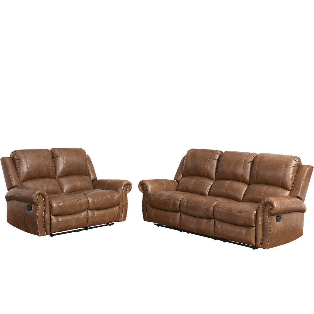 Image of 2pc Lorenzo Leather Reclining Loveseat & Sofa Cognac (Red) - Abbyson Living