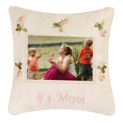 """C&F Home 10"""" x 10"""" #1 Mom Embroidered Picture Pillow"""