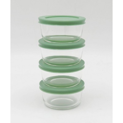 1 Cup 4pk Round Glass Food Storage Container Set Light Green - Room Essentials™