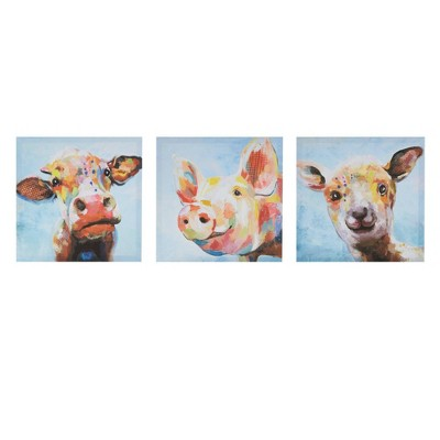 "(Set of 3) 12"" Square Farm Animals Printed Wall Canvas"