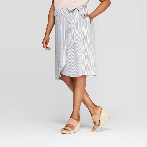 Women's Plus Size Striped Linen Tie Waist Skirt - Ava & Viv™ Blue - image 1 of 2