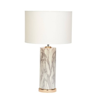 """5"""" x 26"""" Large Cylindrical Marble Table Lamp with Metallic Base and Drum Gold/White - CosmoLiving by Cosmopolitan"""