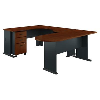 Bush Business Furniture Cubix U Shaped Corner Desk with Mobile File Cabinet, Hansen Cherry