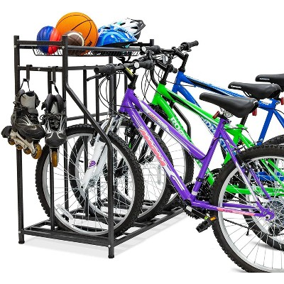 RaxGo 3 Bicycle Floor Parking Stand, Free Standing Bike Rack & Sports Storage Organizer for Garage