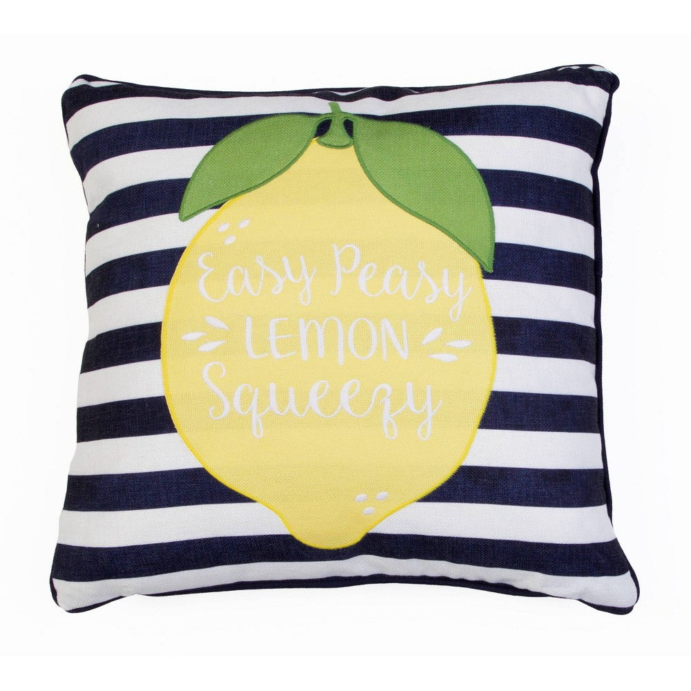 """Image of """"20""""""""x20"""""""" Ethan Easy Peasy Applique Pillow Navy - Décor Therapy"""""""