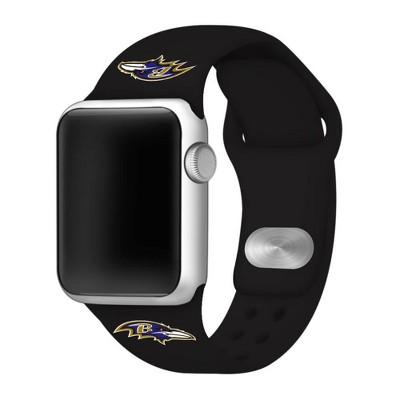 NFL Baltimore Ravens Apple Watch Compatible Silicone Band 42mm - Black