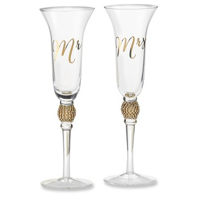 Kate Aspen Mr. & Mrs. Gold Glitter Rhinestone Toasting Flutes