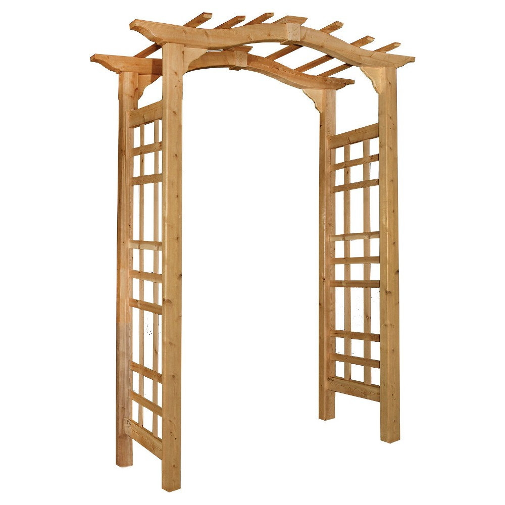 "Image of ""Westwood 18"""" Cedar Arbor Garden Decorative Structures - Brown - Arbors - New England Arbors"""
