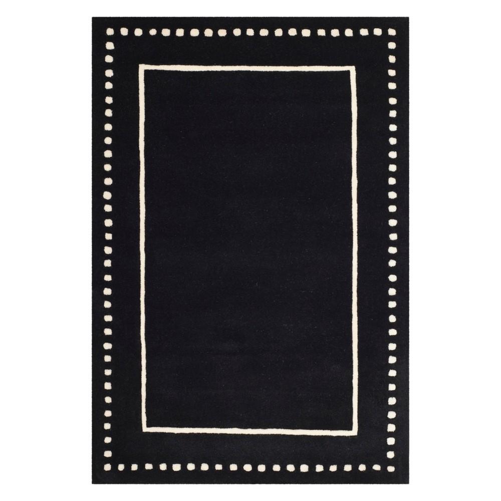 4'X6' Solid Area Rug Black/Ivory - Safavieh