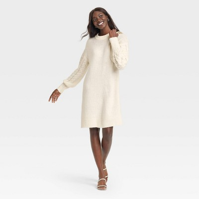 Women's Long Sleeve Cable Knit Sweater Dress - A New Day™