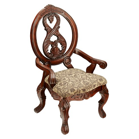 Sun & Pine Elegant Carved Padded Arm Chair Wood/Antique Cherry (Set of 2) - image 1 of 4