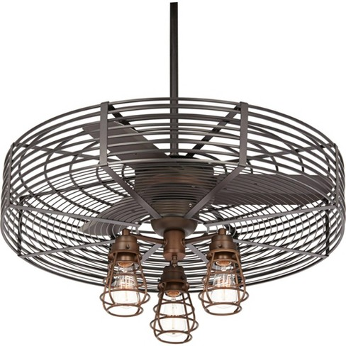 32 Casa Vieja Industrial Vintage Ceiling Fan With Light Led Dimmable Remote Oil Rubbed Bronze Cage Living Room Kitchen Bedroom Target