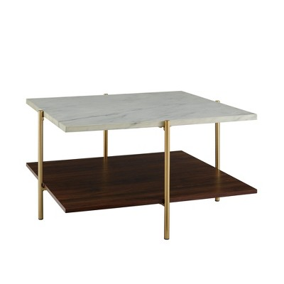 Mid Century Modern Glam Square Coffee Table Faux White Marble Dark Walnut/Gold - Saracina Home