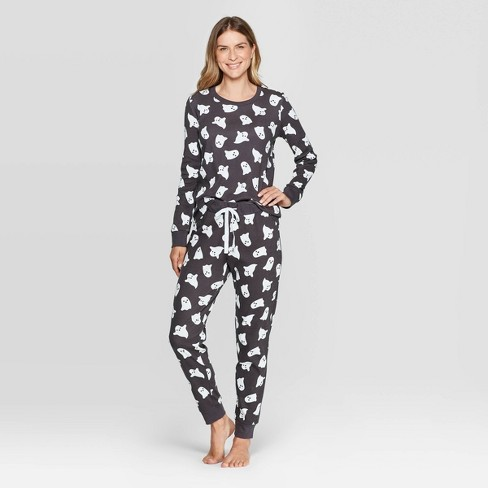 Women's Family Pajamas Ghost Set - Snooze Button Gray - image 1 of 2