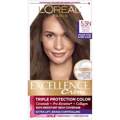 L Oreal Paris Excellence Creme Permanent Triple Protection Hair Color 5 5n Medium Neutral Brown 1 Kit Target