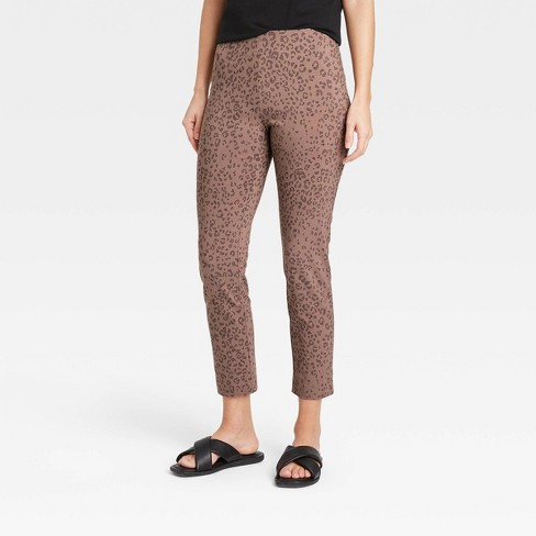 Women's Leopard Spot High-Rise Skinny Ankle Pants - A New Day™ Brown - image 1 of 3