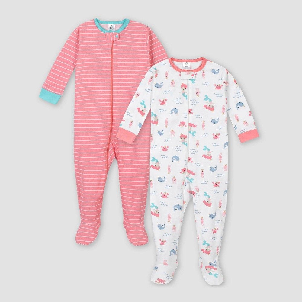 Image of Gerber Baby Girls' 2pk Mermaid 100% Cotton Footed Unionsuit - Pink/White 6M, Girl's