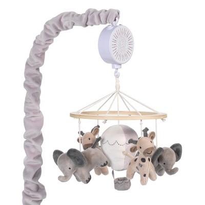 Lambs & Ivy Linen Safari Musical Elephant/Giraffe Baby Crib Mobile