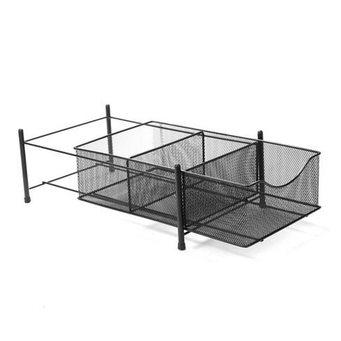 Three Compartment Metal Mesh Storage Basket Organizer Black - Mind Reader - image 1 of 4