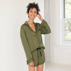 Women's Satin Long Sleeve Notch Collar Top and Shorts Pajama Set - Stars Above™