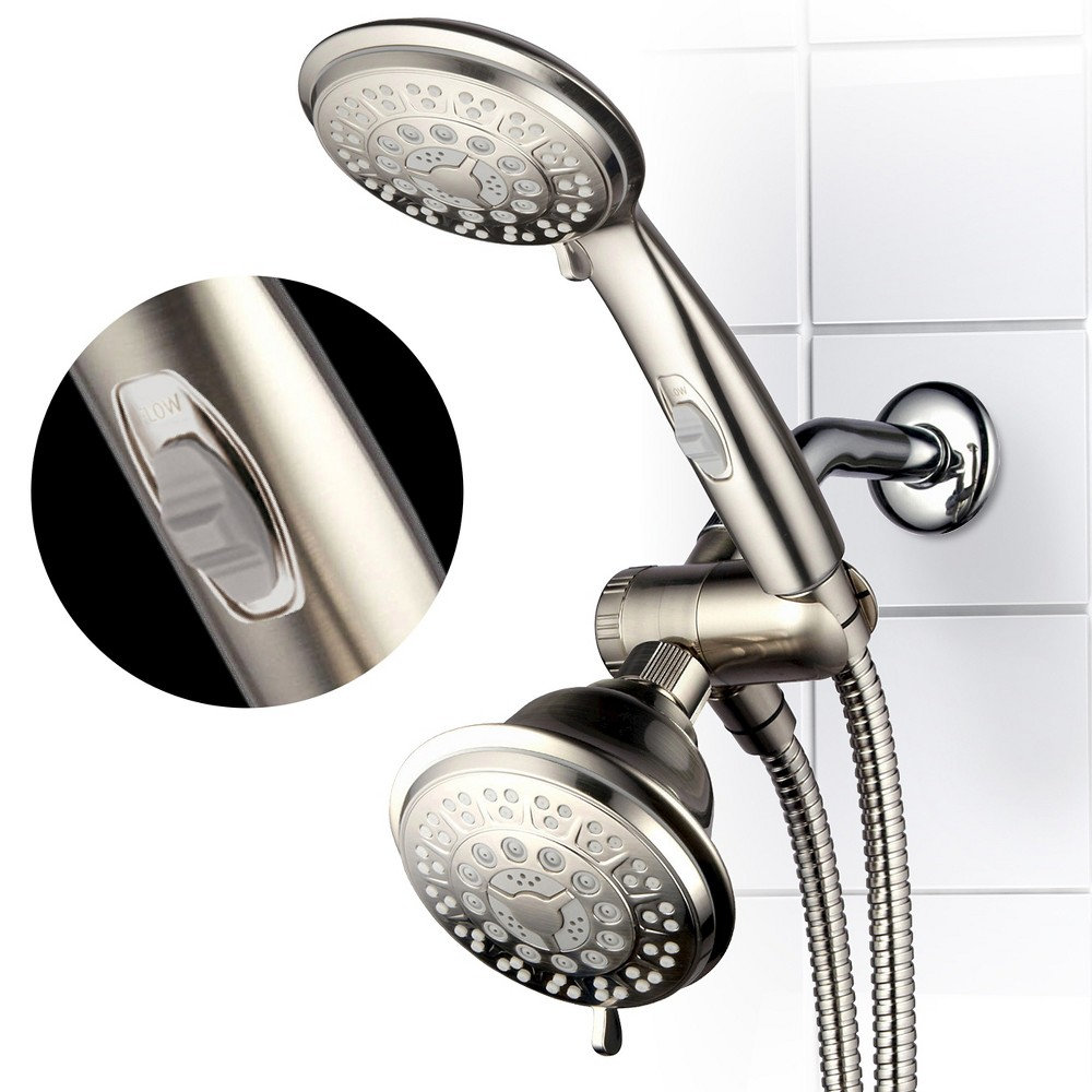Image of Ultra Luxury Combo Shower System Brushed Nickel - Hotelspa, Silver