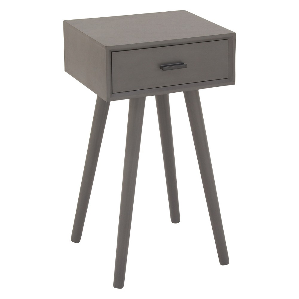 Image of Wood Single Drawer Pole Legs Accent Table Gray - Olivia & May