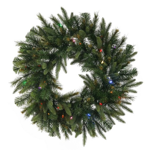 """Vickerman 24"""" Prelit LED Mixed Cashmere Pine Artificial Christmas Wreath - Multi Lights - image 1 of 1"""