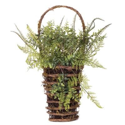 """Vickerman 21"""" Artificial Green Fern in Hanging Wall Basket."""