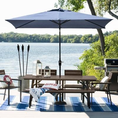 Mantega 6pc Rectangle Metal Patio Dining Set - Black/Brown - Project 62™