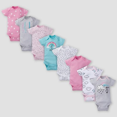 Gerber Baby Girls' 8pk Clouds Onesies - Pink/Gray Newborn