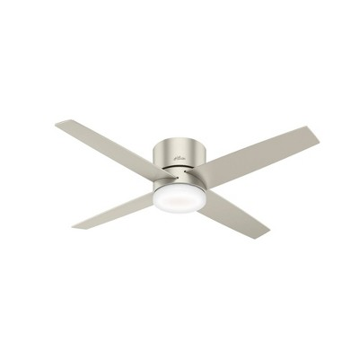 """54"""" LED Advocate WiFi Low Profile Ceiling Fan with Remote (Includes Energy Efficient Light Bulb)Nickel - Hunter"""