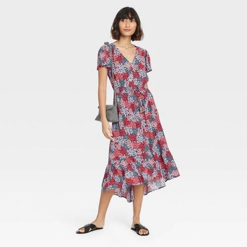 Women's Floral Print Flutter Short Sleeve Dress - Knox Rose™  - image 1 of 3