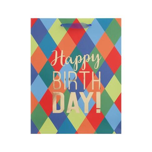Diamond Pattern Happy Birthday Large Gift Bag