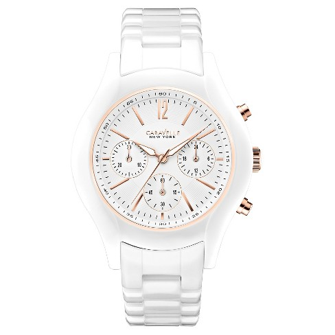 Caravelle New York by Bulova Women's Chronograph White Ceramic Bracelet Watch - 45L144 - image 1 of 1