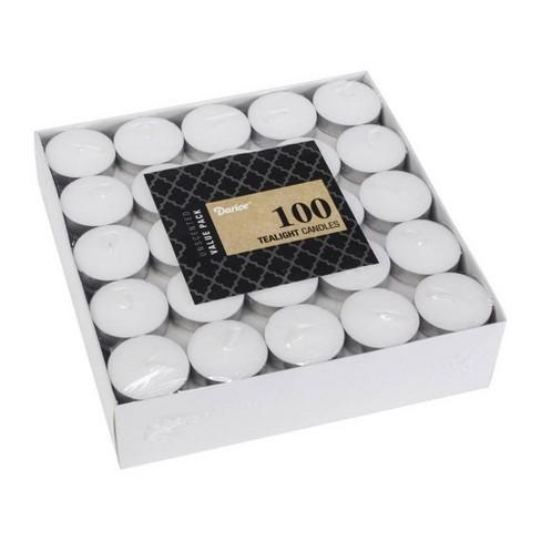 "Darice 1.5"" x .5"" 100pk Unscented Wax Tea Lights - White - image 1 of 1"