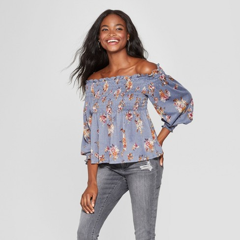 f725a7413c3c35 Women s Long Sleeve Floral Knit Off The Shoulder Top - Xhilaration ...