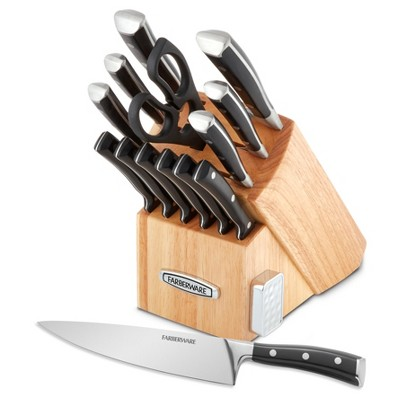 Farberware Edgekeeper 14pc Forged Triple Rivet Cutlery Set with Built-In Knife Sharpener