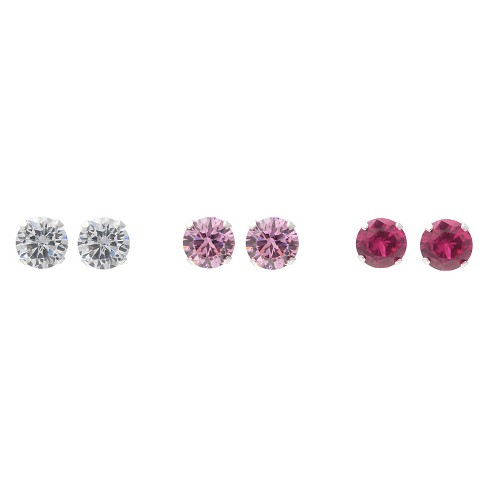 5 3/4 CT. T.W. Round-cut CZ Prong Set Stud Earrings Set in Sterling Silver - image 1 of 2