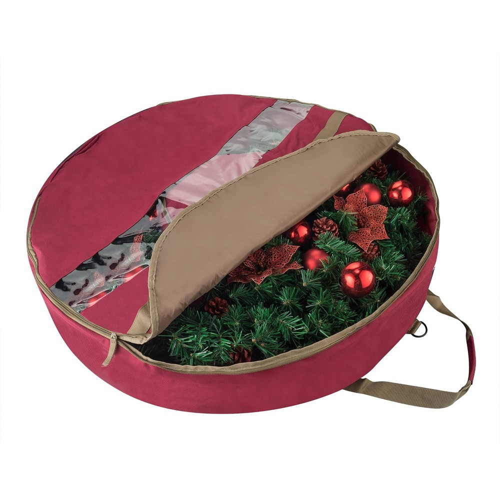"Image of ""24"""" Ultimate Holiday Christmas Wreath Storage Bag Red - Elf Stor"""