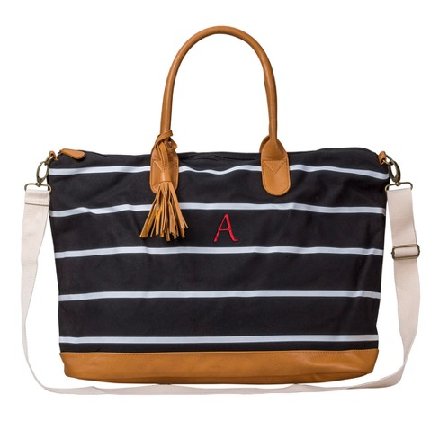 Women's Monogrammed Black Striped Oversized Weekender Bag - Cathy's Concepts - image 1 of 3