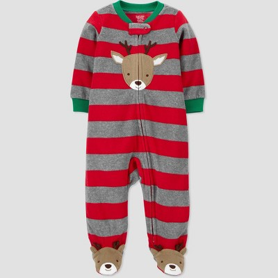 Baby Boys' Reindeer Striped Fleece Sleep N' Play - Just One You® made by carter's Red Newborn