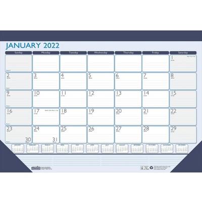 "House of Doolittle 2022 17"" x 22"" Desk Pad Calendar Contempo Blue/White 151-22"