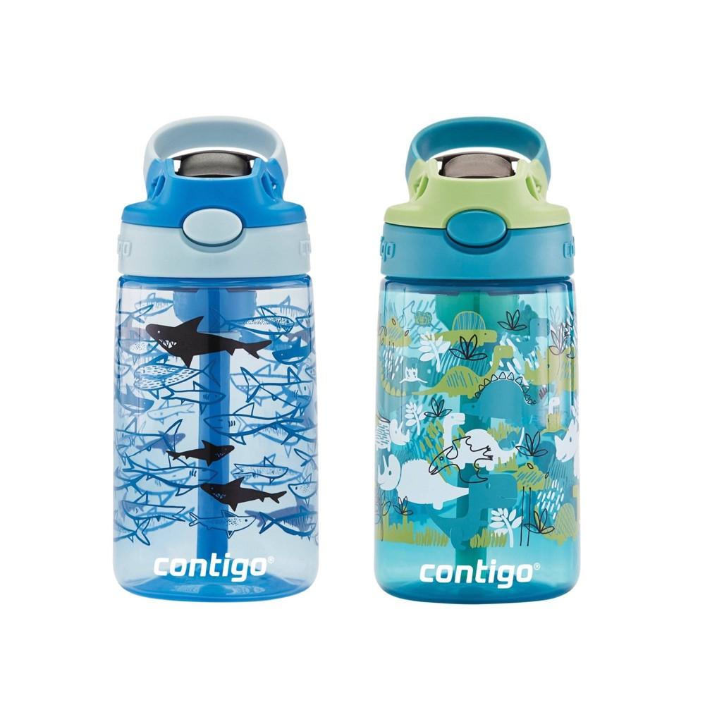 Image of Contigo 14oz 2pk Plastic Kids Autospout Tritan Dino & Shark Water Bottles