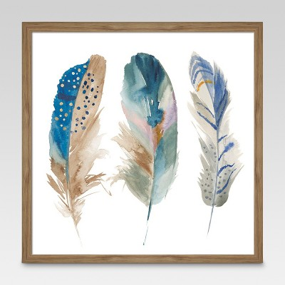 Framed Watercolor Feathers 16 x16  - Threshold™