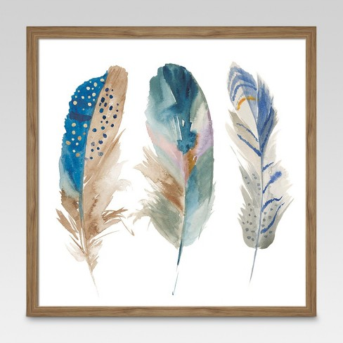 "Framed Watercolor Feathers 16""x16"" - Threshold™ - image 1 of 4"