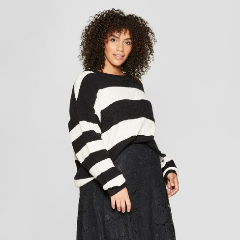 Women's Plus Size Striped Long Sleeve Crew Neck Tie Back Sweater - Who What Wear™ - image 1 of 3