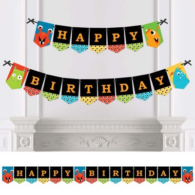 Big Dot of Happiness Monster Bash - Little Monster Birthday Party Bunting Banner - Party Decorations - Happy Birthday